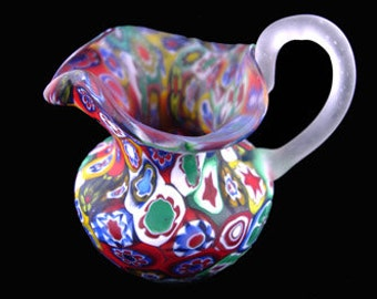 Vintage Millefiori Matte Finish Pitcher with Applied Handle