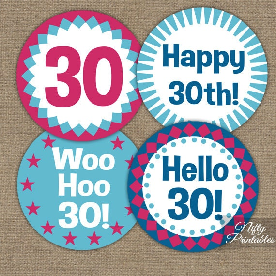 30th Birthday Cupcake Toppers 30th Hot Pink Toppers