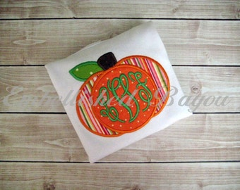 Fall Pumpkin with Monogram Appliqued Ruffle T-shirt or Onesie for Girls