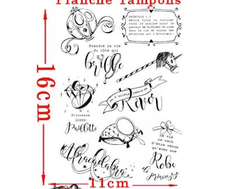 Set of 9 french text on Princess theme Clear stamps Board 16cmx11cm
