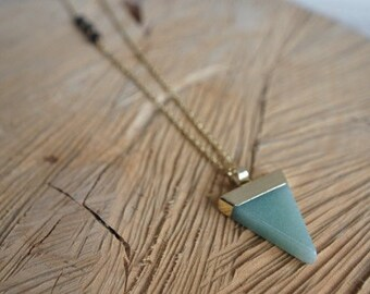 Essential Oil Diffusing Necklace with Green Aventurine Pendant and Black Lava Beads- Available in Gold or Silver