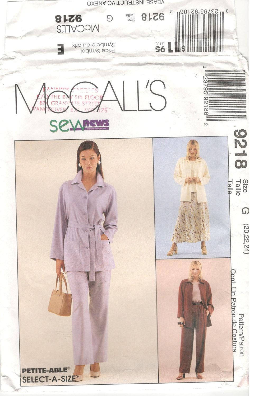 De McCall 9218 tamaño 20 22 24 más del tamaño patrón: