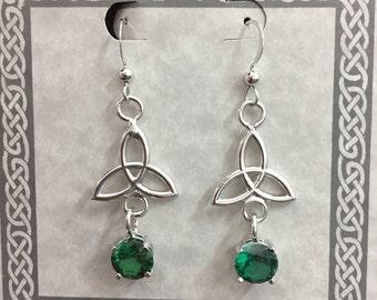 925 Irish Celtic Sapphire Dangle Earrings, Celtic Charmed Irish 925 Earrings, Scottish Sapphire Wedding Earrings, Boho Hipster Earrings