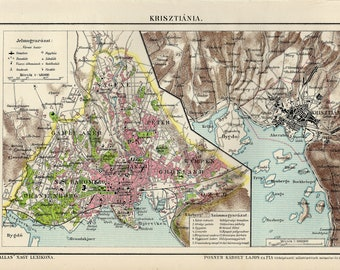 Antique city map of Kristiania or Oslo, Norway from 1895