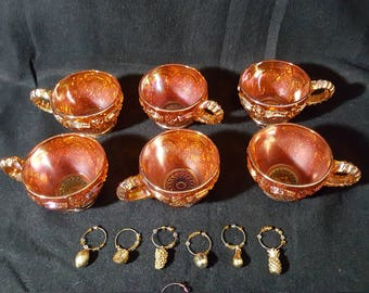 Vintage Marigold Carnival Glass Cups (6 pc) with Drink Markers (7 pc)