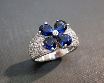 Blue Sapphire Diamond Wedding Ring in 18K White Gold