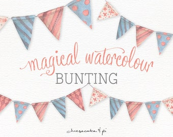 Watercolor bunting clipart: painted whimsical bunting banner / PNG clip art / commercial use / nursery art / children decor / CM0076-bunting