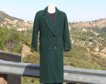 1970s Long Green Double Breasted Wool Coat (Vintage / 70s / Style VI Ltd.)