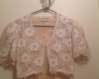 Victor Costa White Lace Cropped Shrug