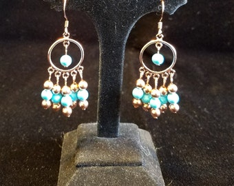 Turquoise and Copper Dangle Earrings