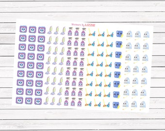 Kawaii household icon planner stickers -- perfect for Erin Condren Life Planner, kikki-k, plum paper planner and more