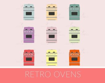 Retro 50's Oven Clipart, Digital Download Baking Kitchen Chef Food cute stove png Download