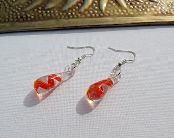 Murano teardrop glass bead earrings