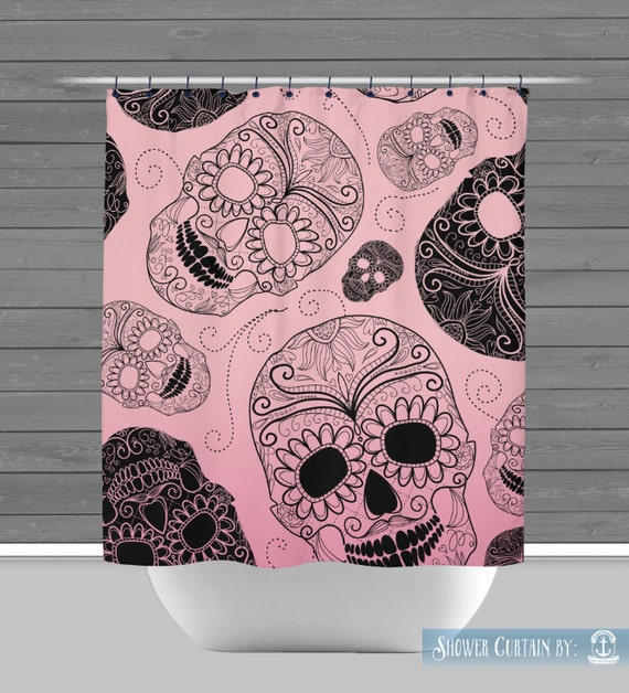 pink and black shower curtain. Shower Curtain and More  Sugar Skull Pink Black Simple Skulls See Dropdown for Pricing Matching Decor Options