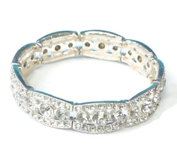 Rhinestone Stretch Bracelet Pageant Prom Wedding Vintage