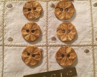 Vintage Buttons - Handmade Pottery Buttons with a Stamped Flower Design Set of 6