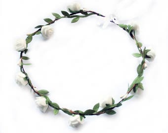Bridal flower wreath wedding flower crown bridal head piece rustic hair band bohemian beach flower for hair Wedding Hair Accessories