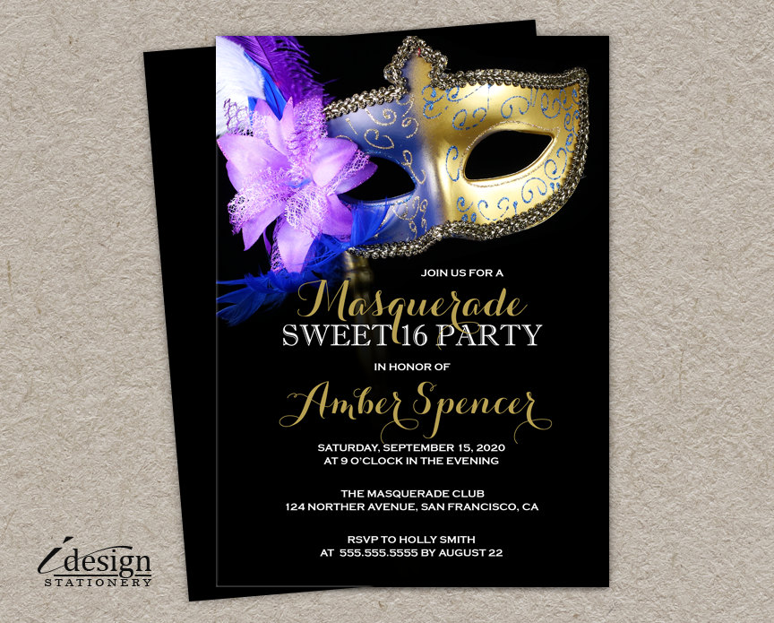 Sweet 16 Masquerade Invitation DIY Printable Mardi Gras Sweet