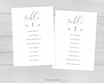 5x7 Printable Wedding Seating Chart Cards, PDF Template Instant Download, Editable Hanging Seating Cards Table assignments, Reception Decor