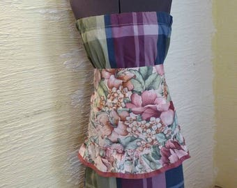 Pillowcase Dress, Apron Dress, Handmade Dress, Unique Clothing, Sleeveless Dress, Upcycled Clothing, Recycled Valance, Flowers, Plaid Dress