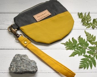Waxed canvas wristlet, canvas pouch, clutch bag, wristlet wallet, canvas clutch bag, wristlet pouch, fernweh uk, yellow pouch, grey pouch