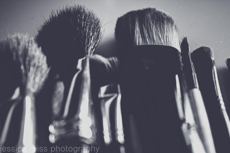 Black And Pink White Makeup Brushes Art Print Girly