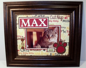Cat Frame Personalized 8x10 Frame Included - Houses Vertical or Horizontal 4x6 or 5x7 Photo - You Choose Accent Colors
