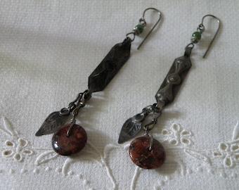 Awesome Native American Silver Red Jasper Earrings