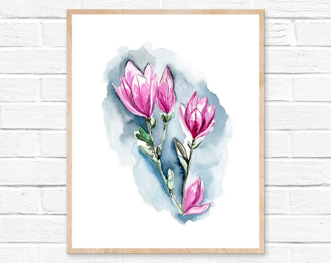 Magnolia Watercolor Painting Pink Floral Wall Art Print Abstract Flower Home Decor Girl Nursery Shabby Chic Farmhouse Decor Print Flower Art