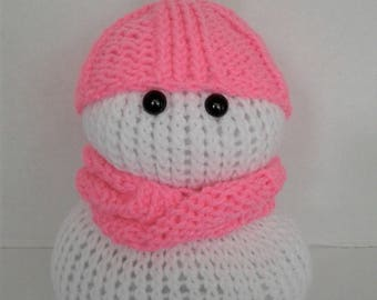 Hand Knitted Bright Pink Pom Pom Hat Snow Lady-Small