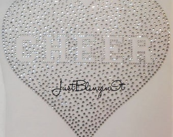 Varsity CHEER in Heart Rhinestone Hot Fix Iron On Transfer Bling DIY