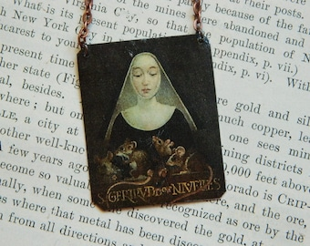 Saint necklace or pendant Saint Jewelry Saint Gertrude mixed media jewelry
