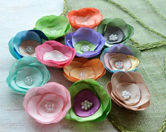 Satin fabric flowers, silk flower appliques, small satin roses, wedding flowers, bulk flowers, flower embellishment (12pcs)- GRAB BAG 395