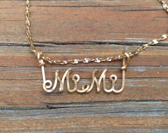 Mimi Name Necklace, Handcrafted Cursive Name in Script, Gold or Silver, Personalized Name Your Choice, Mimi Name jewelry, Mom Gift