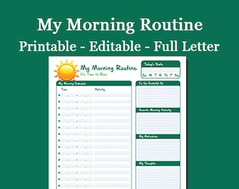 My Morning Routine - Printable & Editable