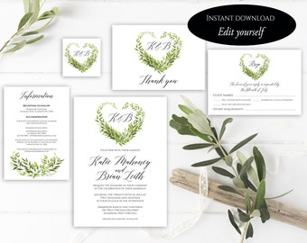 Heart Wedding Invitation Template, Heart Wedding Invitation, Invitation Suite Template, Editable Wedding Invite, Invitation Set, Pdf