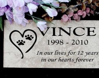 "Pet Memorial plaque. Maintenance Free 12""x6""x3/8"" Weathered Italian Porcelain Stone 'Vince' Design"
