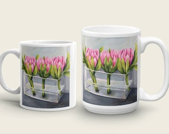 "Floral Art Mug by artist Sharon Sudduth; Pink Proteas; ""Pass Me Not""; 11 oz or 15 oz, Tea, Coffee"