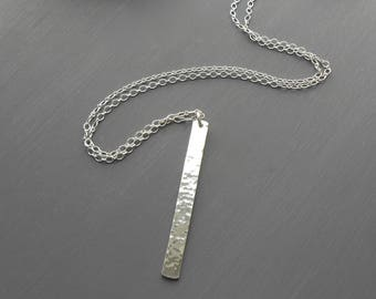 Hammered Silver Bar Pendant Necklace