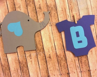 Elephant Baby Shower Banner, Elephant Baby Outfit Banner, Elephant Theme Party, Custom Name Banner, Mommy Baby Elephant,  Mommy To Be Banner
