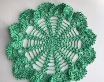 Crochet, Handmade Crochet Doily, Round Spring Green Doily with Scalloped/Lacy Edge
