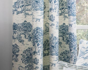 Blue and white toile curtains, French country curtains, French toile drapes, Blue toile curtains, French country blue toile curtains, Toile