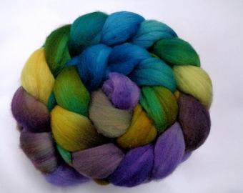 Merino wool roving, hand dyed roving, spinning fiber, felting wool, wool roving, merino roving, green, teal, yellow, wool top, 100g, 3.5oz