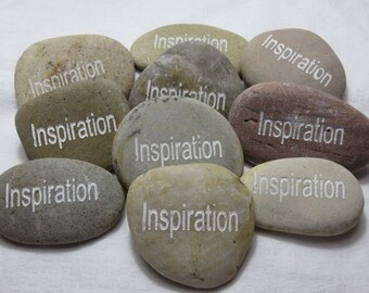 INSPIRATION Carved River Rock Word Stone Worry Stone Garden Stone Palm Stone Healing Stone Paper Weight