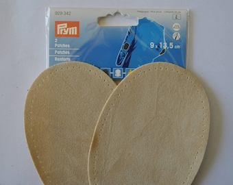 elbow reinforcements imitation suede beige 9x13.5 cm has iron or sewing for repair/customization prym 929342