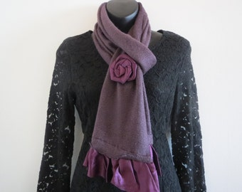 Elegant One Rose Scarf with ruffles Purple Color