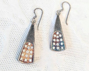 SALE! UNPOLISHED 925 Sterling Silver Drop/Dangle Vintage Earrings-Rhinestones-Thick-Unusual-All Orders Only 99c Shipping!!