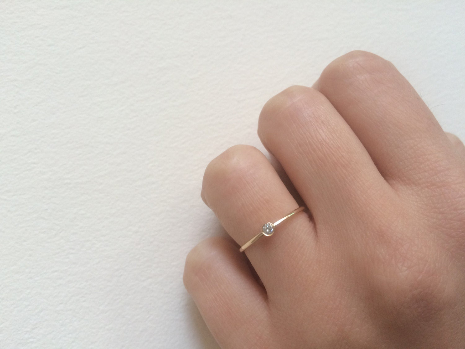 Dainty Engagement Ring 05 Ct Solid 14k Gold Dainty Diamond