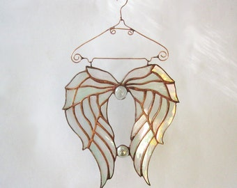 Stained Glass Angel Wings Suncatcher Tiffany Stained glass patterns Memorial