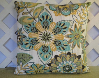 Floral Pillow Cover in Teal Blue Yellow Gold Green Grey Ivory / Teal Yellow Pillow / Accent Pillow / Decorative Pillow / 18 x 18 Pillow